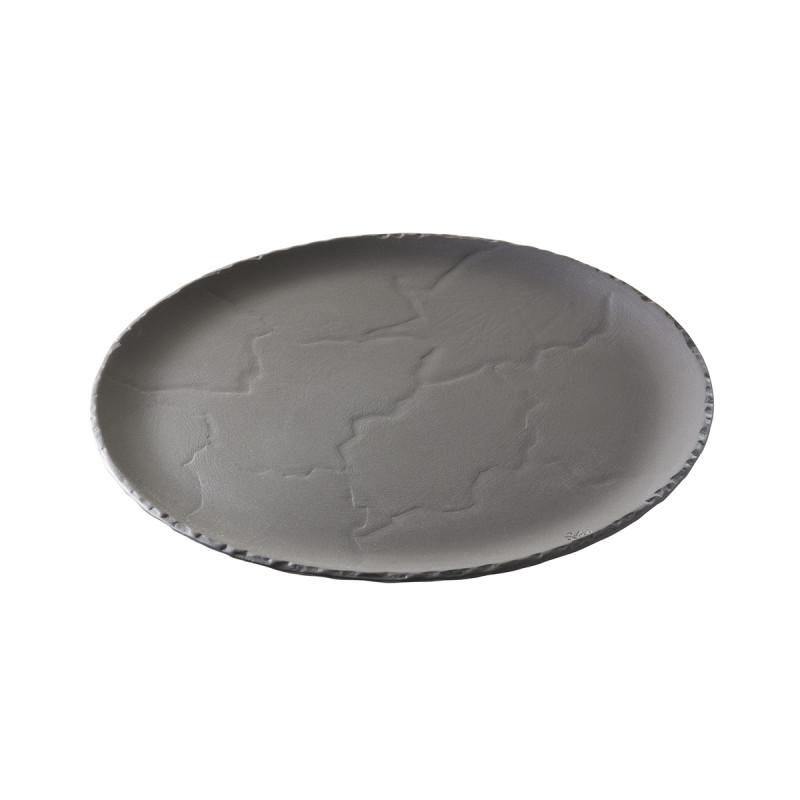 Glass Dome Cloche With Basalt Slate Stone Look Like Plate