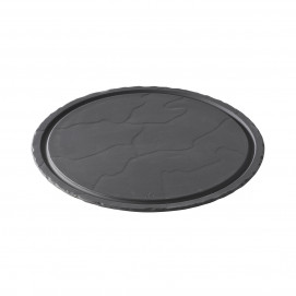 Matt slate style round plate Basalt