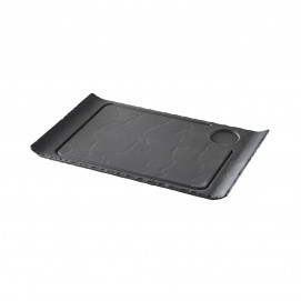 Matt slate style steak plate curved edges Basalt