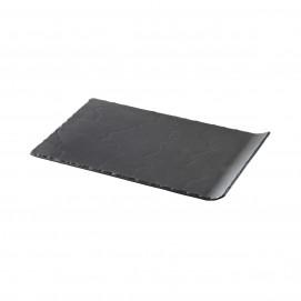Matt slate style rectangular plate dinnerware Basalt