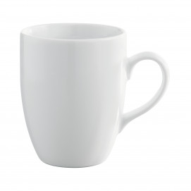 mug round edge with handle white porcelain