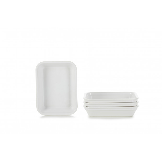 set of 4 individual baking dishes 3 colors