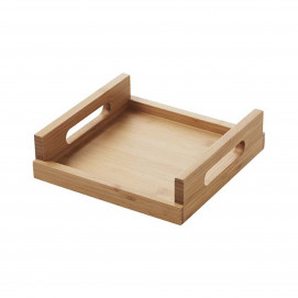 small square bamboo tray with handles