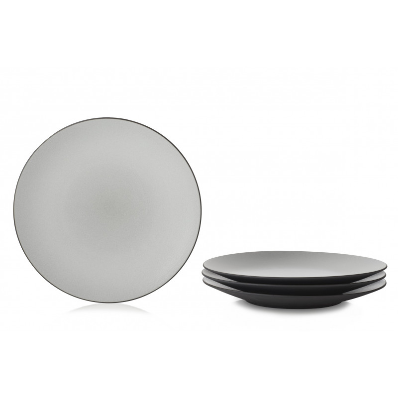 Set Of 4 Dinner Plates Made Of Black Ceramic Made In