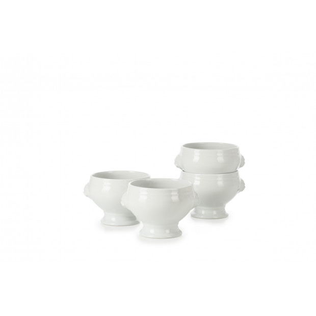 set of 4 white lion headed soup bowl no lid 12.25oz