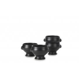 set of 4 black lion headed soup bowl no lid 12.25oz