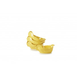set of 4 yellow individual chicken roaster