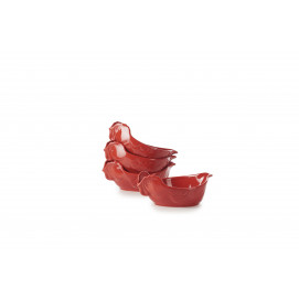 set of 4 red individual chicken roaster
