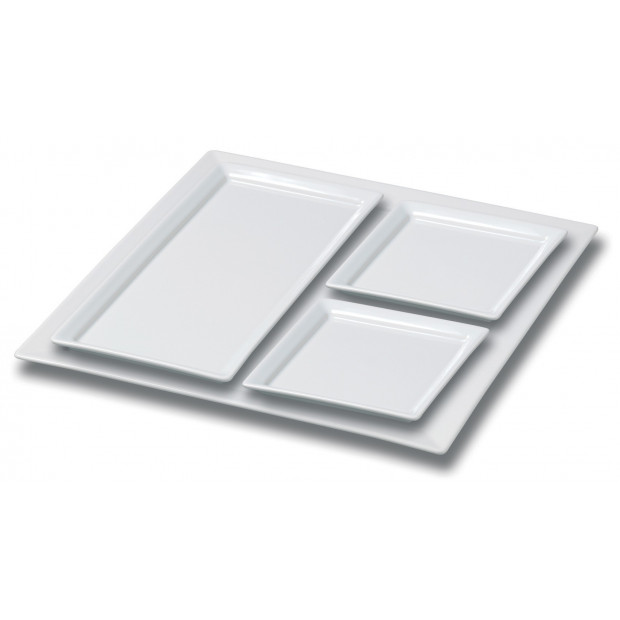 set of 4 square plates 3 sizes  sc 1 st  Revol & Set of 4 white porcelain plates square white dinnerware