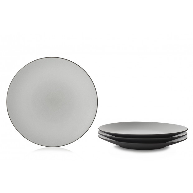 set of 4 equinoxe dinner plate ø11\   sc 1 st  Revol & Set of 4 equinoxe dinner plate black ceramic dinnerware by REVOL