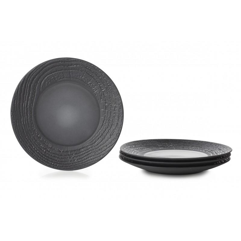 ... set of 4 arborescence dinner plate 10inch 3 colors ...  sc 1 st  Revol Porcelain & Set of 4 porcelain dinner plates. Porcelain faux bois by REVOL