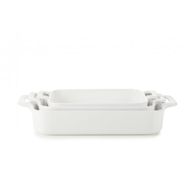 Set of 3 white belle cuisine rectangular roasting dishes