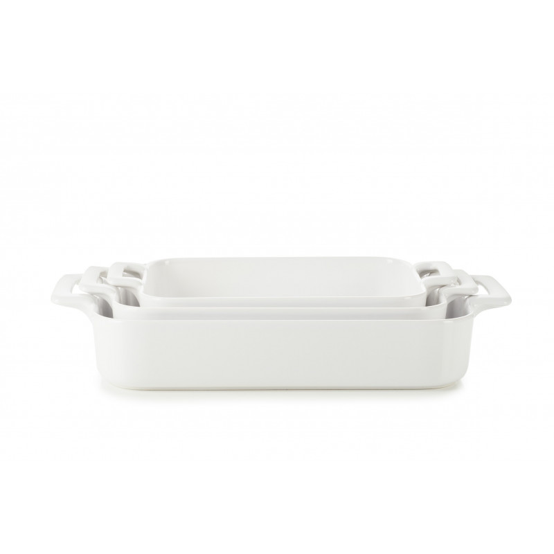 Set of 3 white belle cuisine rectangular roasting dishes  sc 1 st  Revol Porcelain & Revol porcelain Belle cuisine baking dishes - REVOL USA