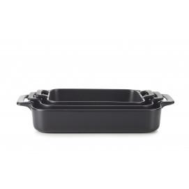 Set of 3 black belle cuisine rectangular roasting dishes