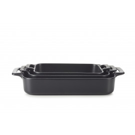 Set of 3 black belle cuisine rectangular roasting dishes