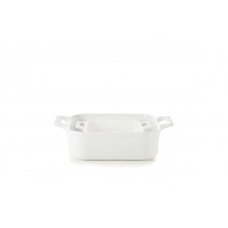 Set Of 2 Square Belle Cuisine Bakers White Roasting