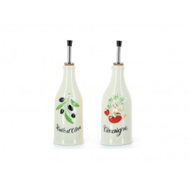 Set of 2 French Classics creamy white provence olive-oil bottle and vinegar bottle