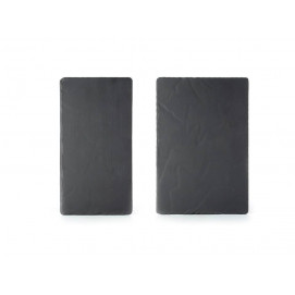 Set of 2 : basalt rectangular plate large and medium