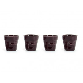 set of 4 crumpled cups aubergine 2 sizes