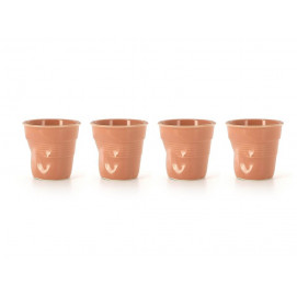 set of 4 crumpled cups peach 2 sizes