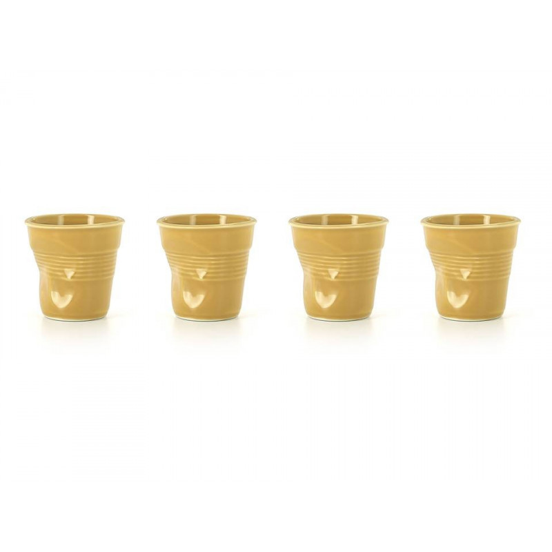 Set Of 4 Crumpled Cups Saffron Espresso Cups By Revol