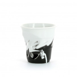 crumpled coffee cup black monochrom