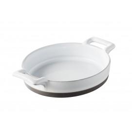oval crème brulee dish black, white glaze