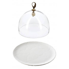glass dome and basalt round plate