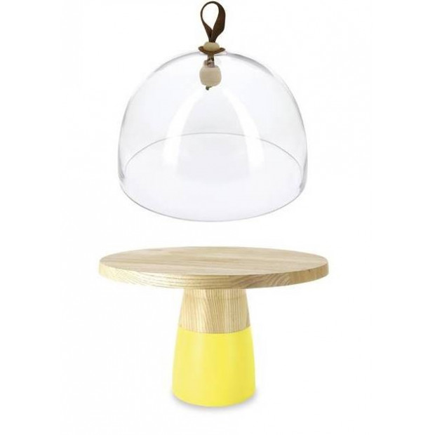 glass dome and low cake stand