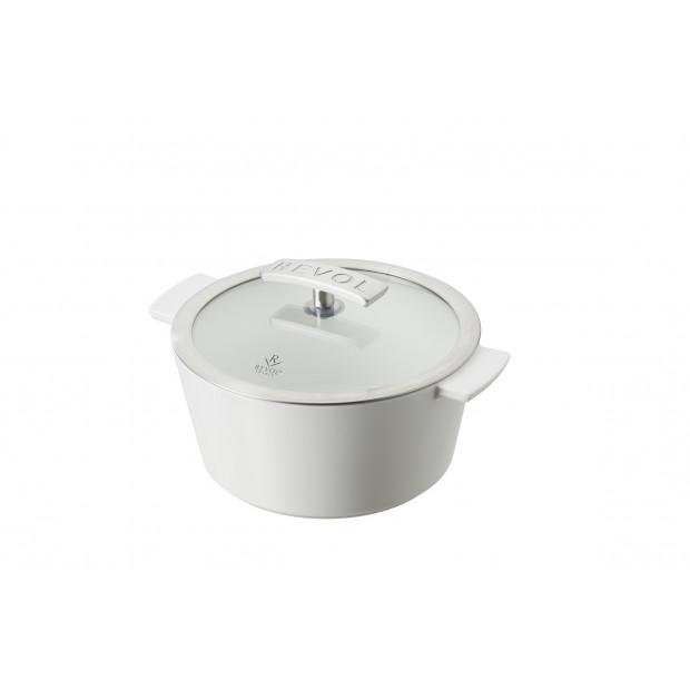 7.5 inch ceramic round dutch oven glass - stainless steel handle Revolution