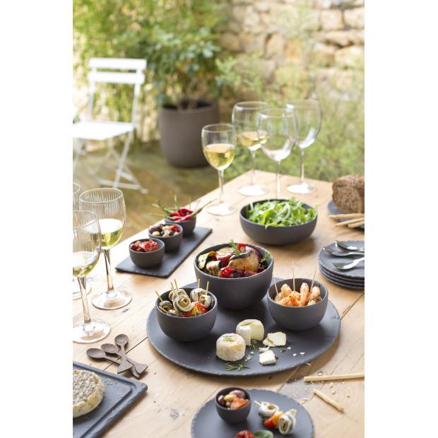Slate Stone Feel Round Dinner Plate Basalt