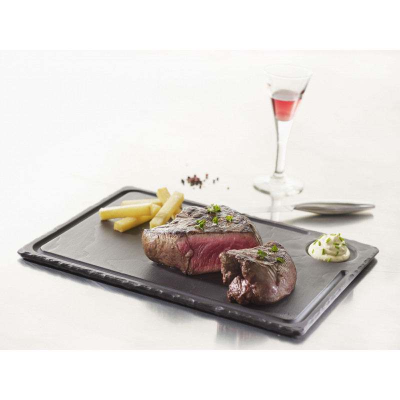 assiette steak rectangulaire en c ramique effet ardoise. Black Bedroom Furniture Sets. Home Design Ideas