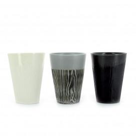 Tasse à café en porcelaine effet bois